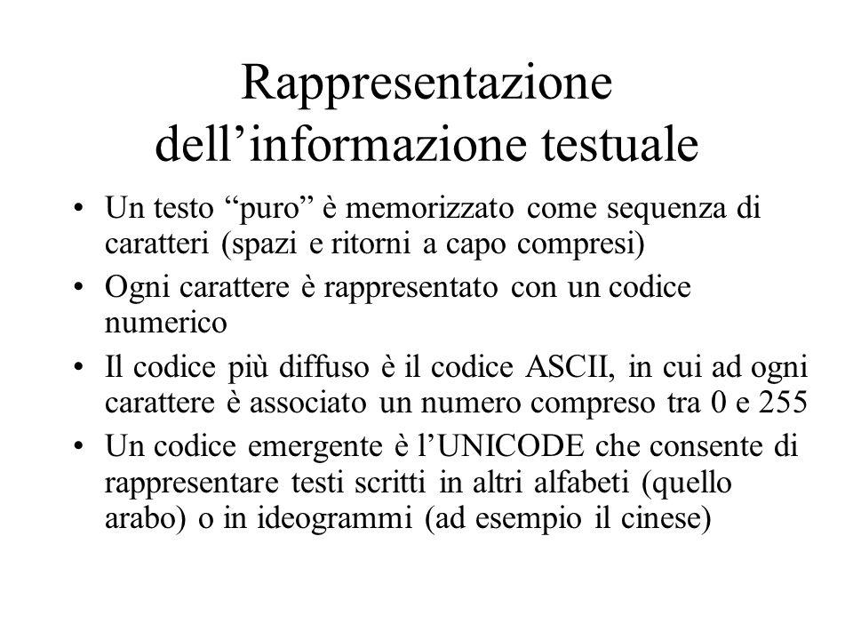 Rappresentazione dell'informazione testuale