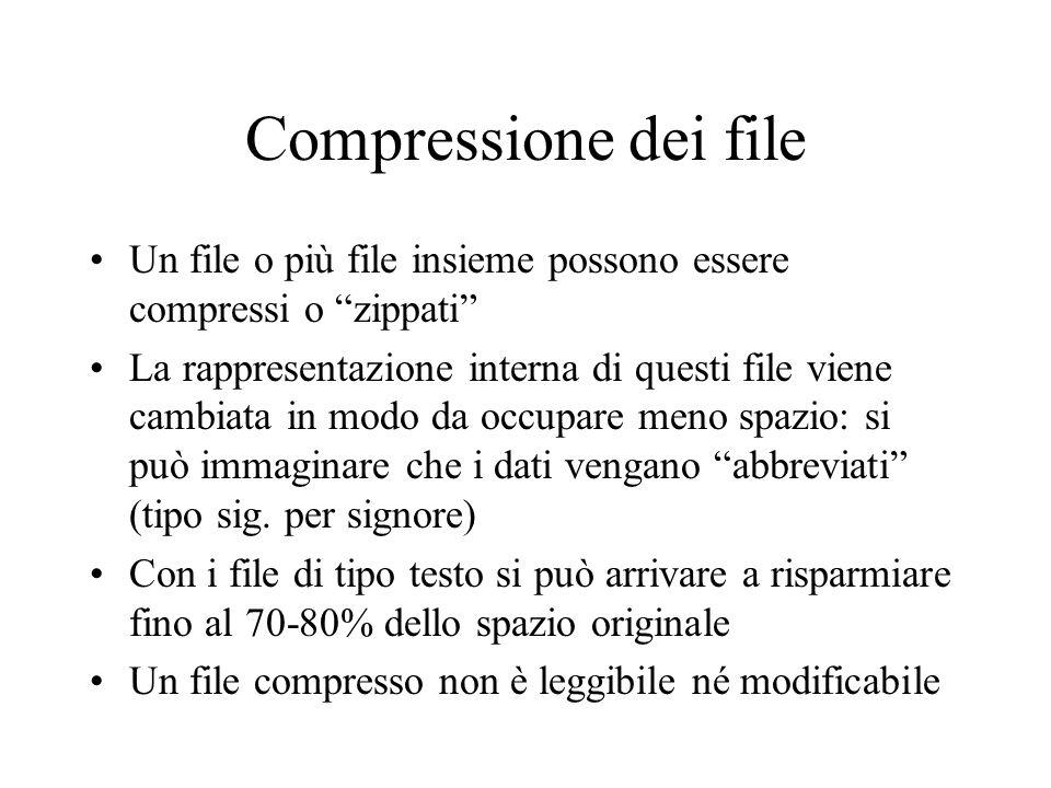Compressione dei file Un file o più file insieme possono essere compressi o zippati