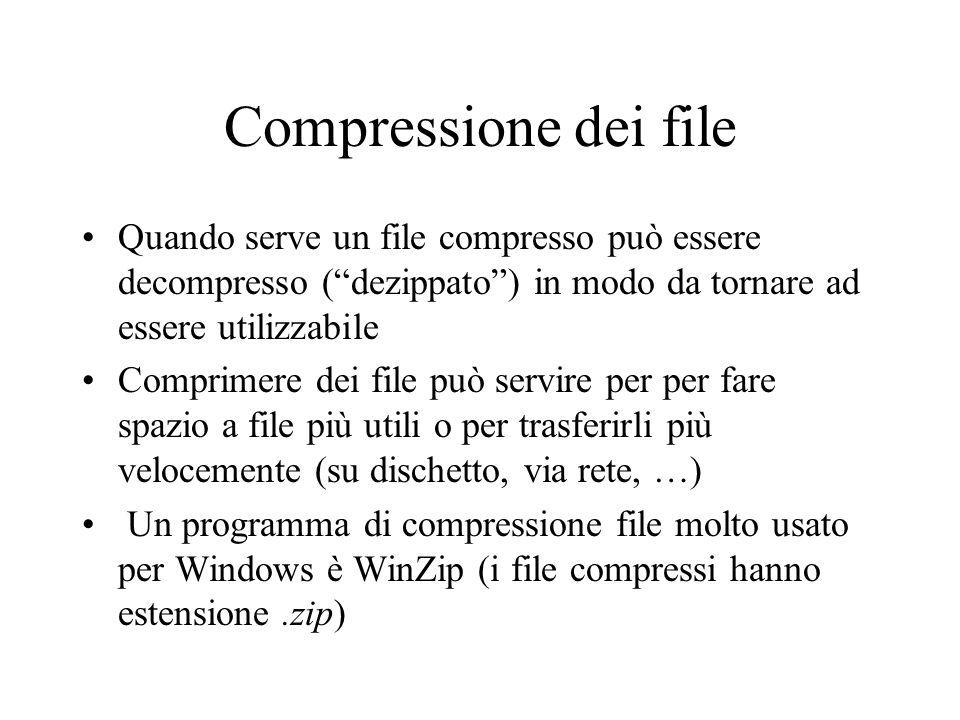 Compressione dei file Quando serve un file compresso può essere decompresso ( dezippato ) in modo da tornare ad essere utilizzabile.