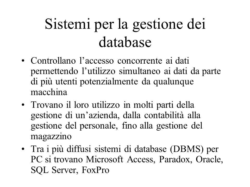Sistemi per la gestione dei database