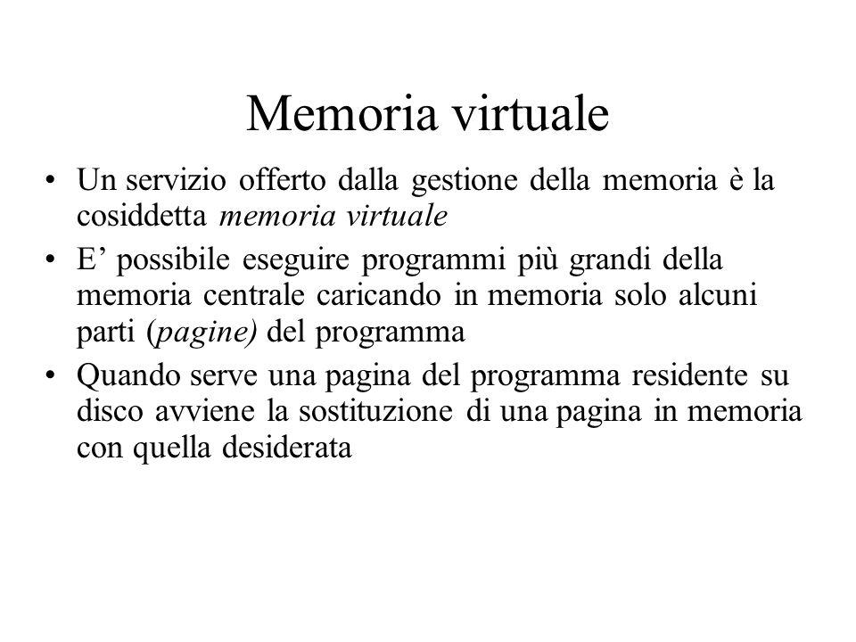Memoria virtuale Un servizio offerto dalla gestione della memoria è la cosiddetta memoria virtuale.