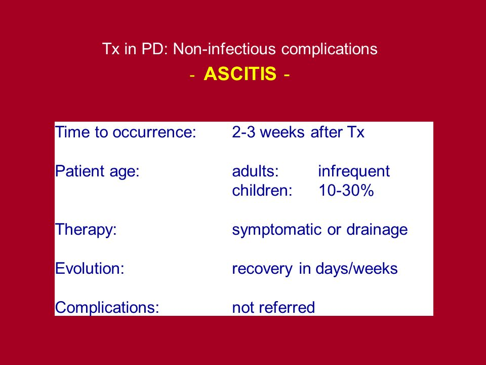 Tx in PD: Non-infectious complications