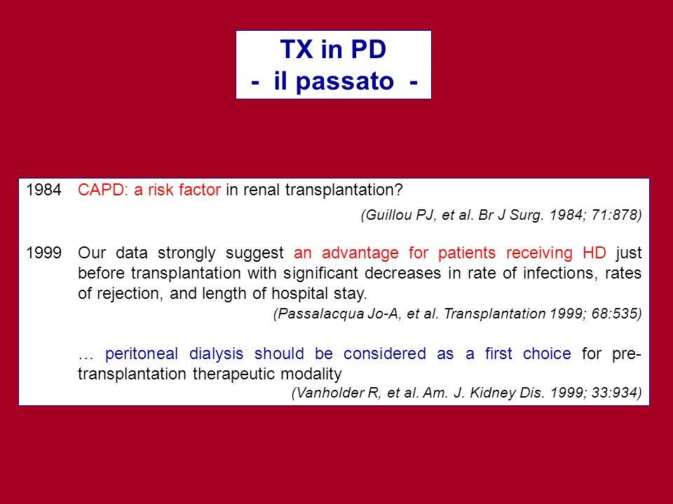 TX in PD - il passato - (Guillou PJ, et al. Br J Surg. 1984; 71:878)