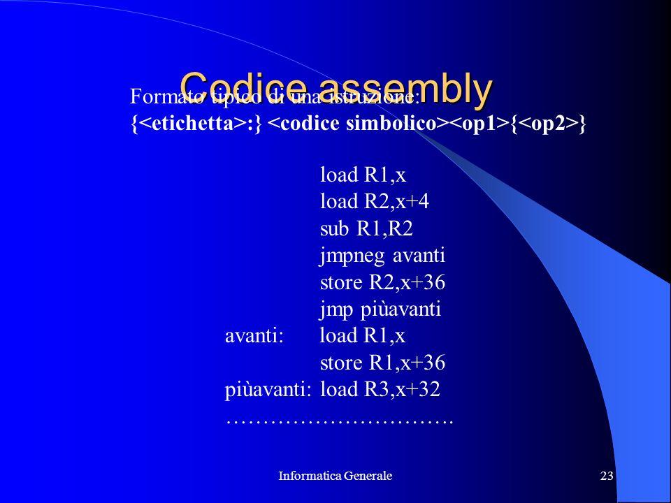 Codice assembly Formato tipico di una istruzione:
