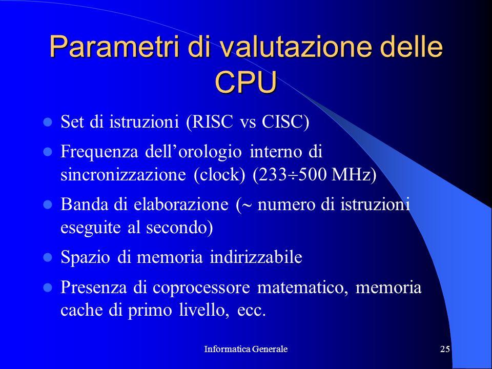 Parametri di valutazione delle CPU
