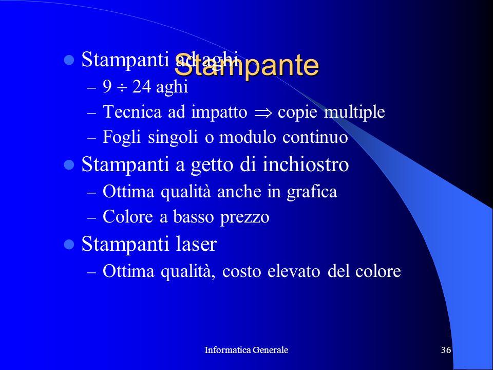 Stampante Stampanti ad aghi Stampanti a getto di inchiostro
