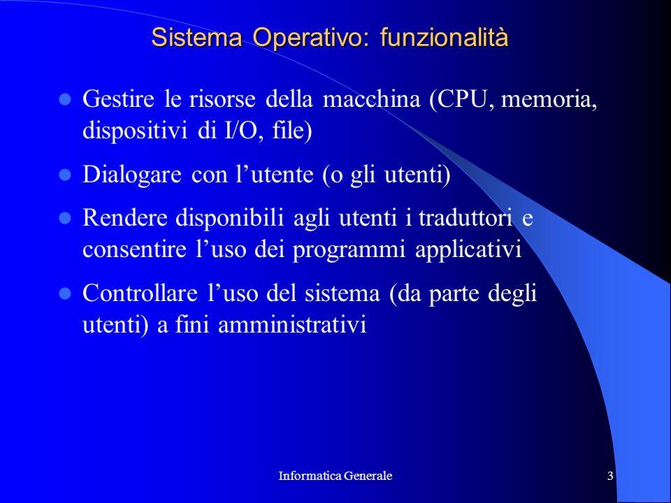 Sistema Operativo: funzionalità