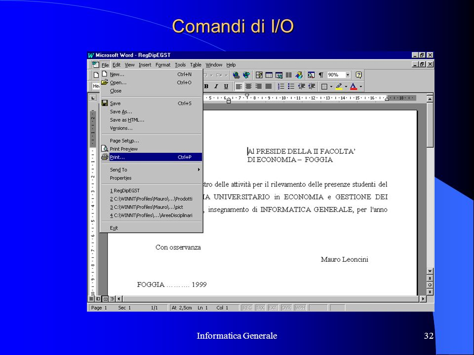 Comandi di I/O Informatica Generale