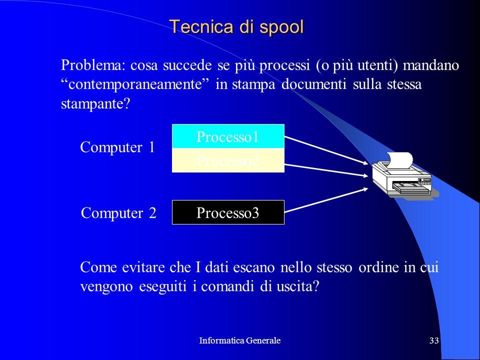 Tecnica di spool Problema: cosa succede se più processi (o più utenti) mandano. contemporaneamente in stampa documenti sulla stessa.