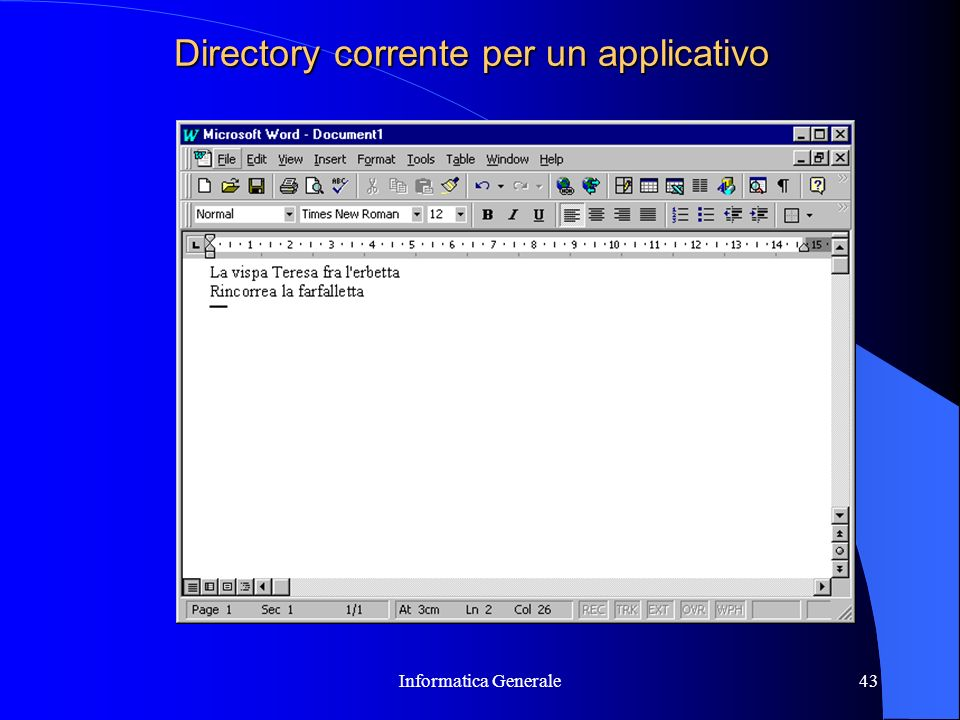 Directory corrente per un applicativo