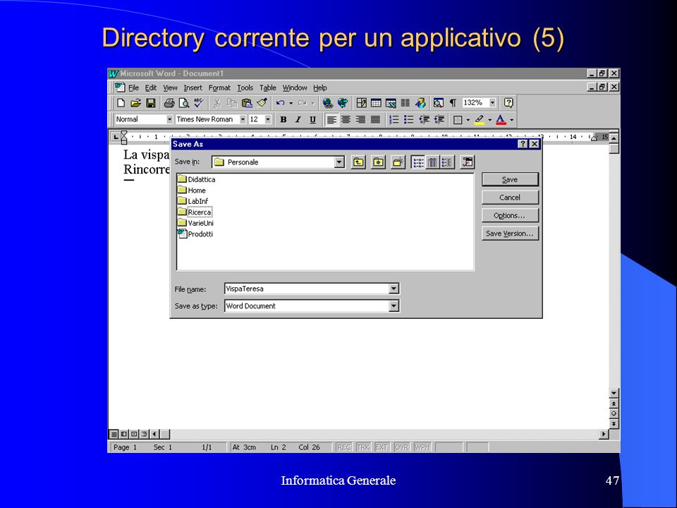 Directory corrente per un applicativo (5)