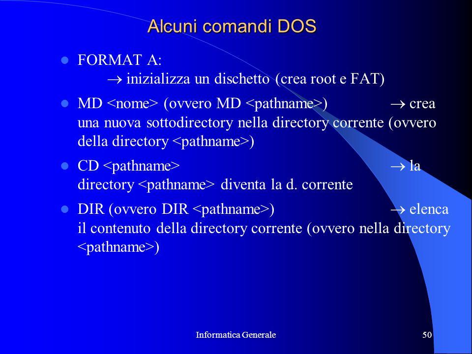 Alcuni comandi DOS FORMAT A:  inizializza un dischetto (crea root e FAT)