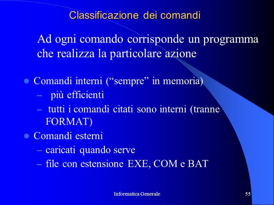 Classificazione dei comandi