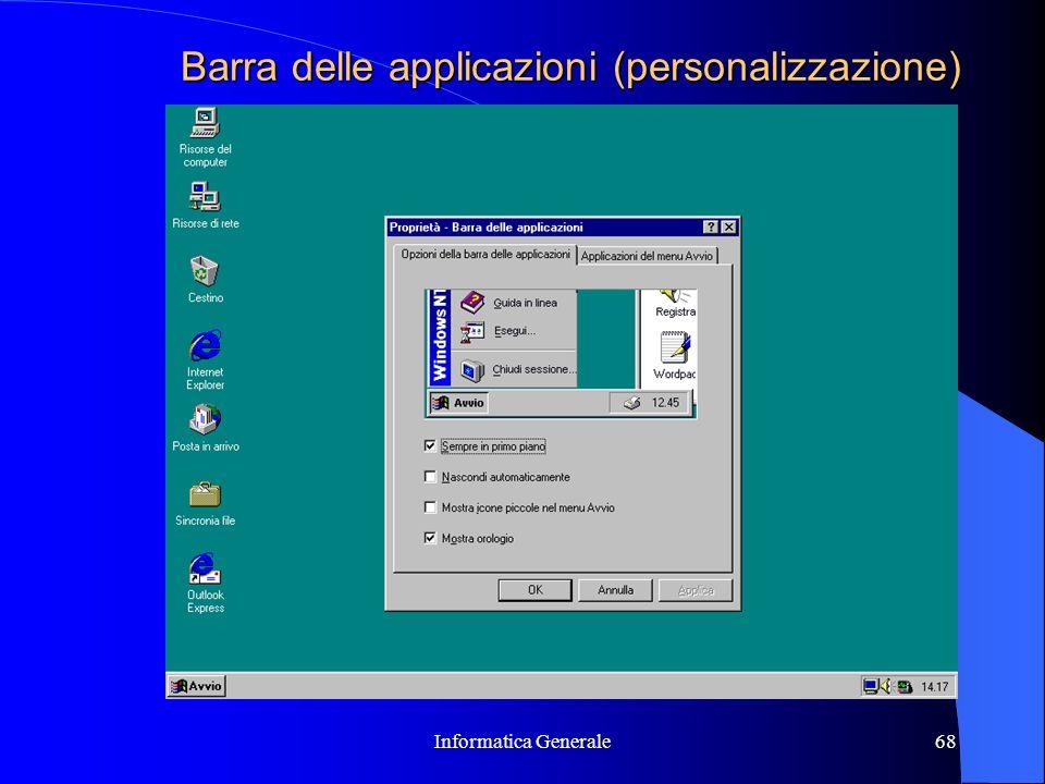 Barra delle applicazioni (personalizzazione)