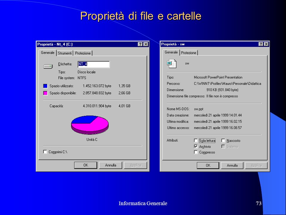 Proprietà di file e cartelle