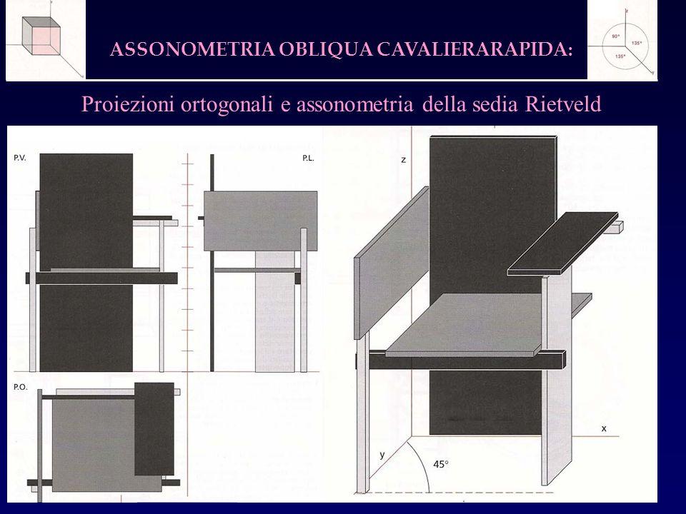 Proiezioni ortogonali e assonometria della sedia Rietveld
