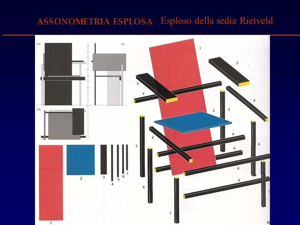 Esploso della sedia Rietveld