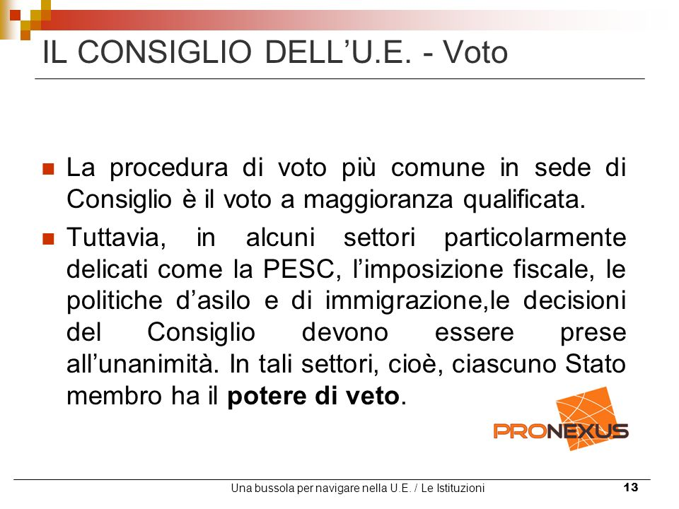 IL CONSIGLIO DELL'U.E. - Voto