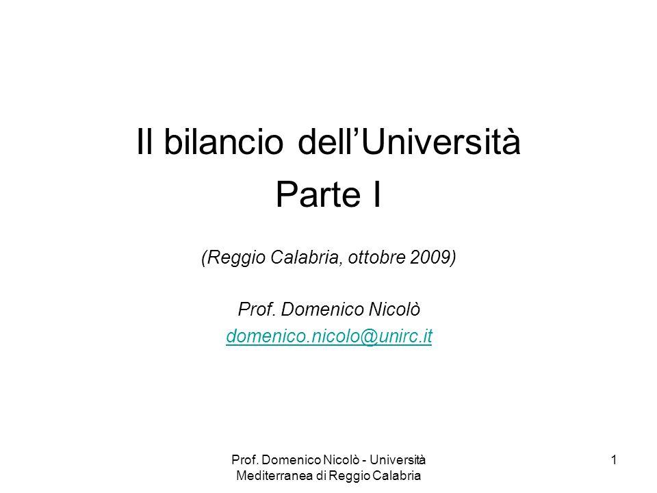 Il bilancio dell'Università Parte I