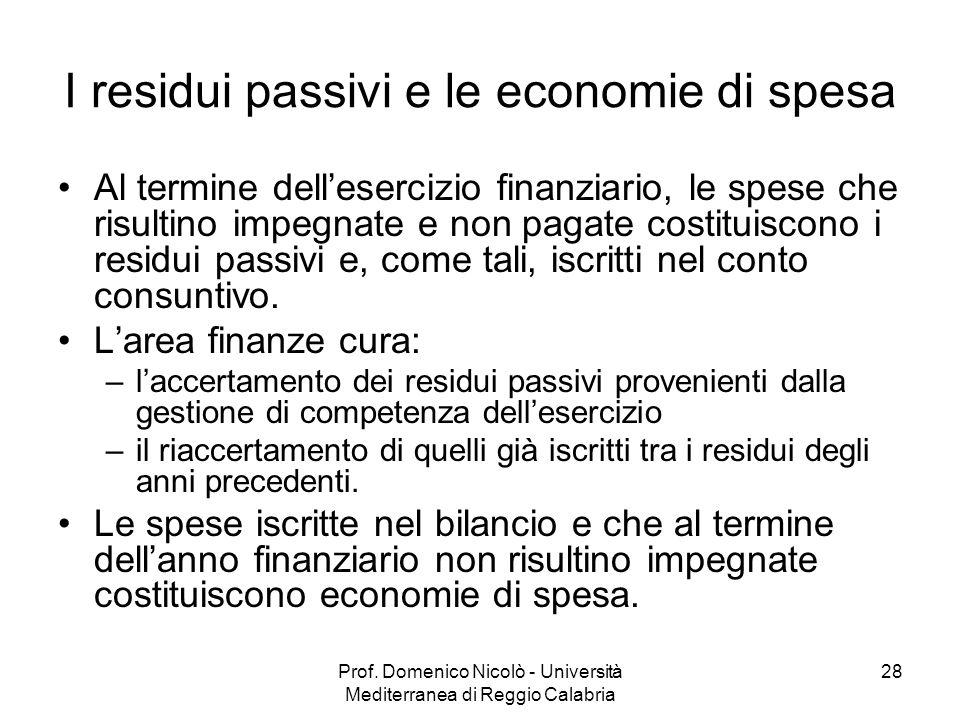 I residui passivi e le economie di spesa