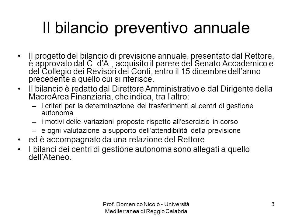 Il bilancio preventivo annuale