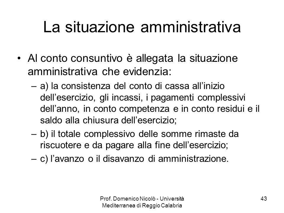 La situazione amministrativa