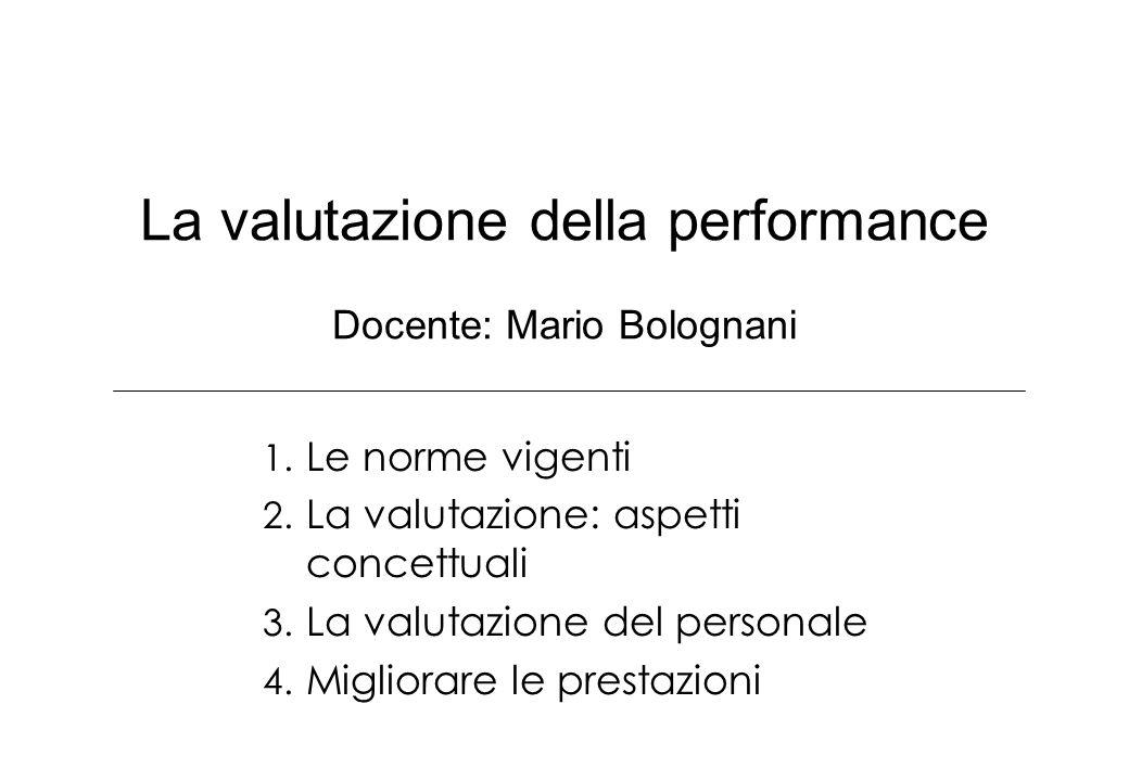 La valutazione della performance Docente: Mario Bolognani