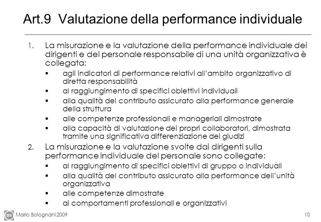 Art.9 Valutazione della performance individuale