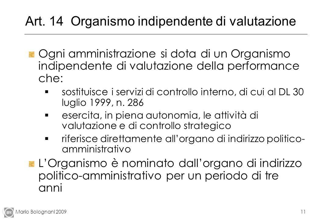 Art. 14 Organismo indipendente di valutazione
