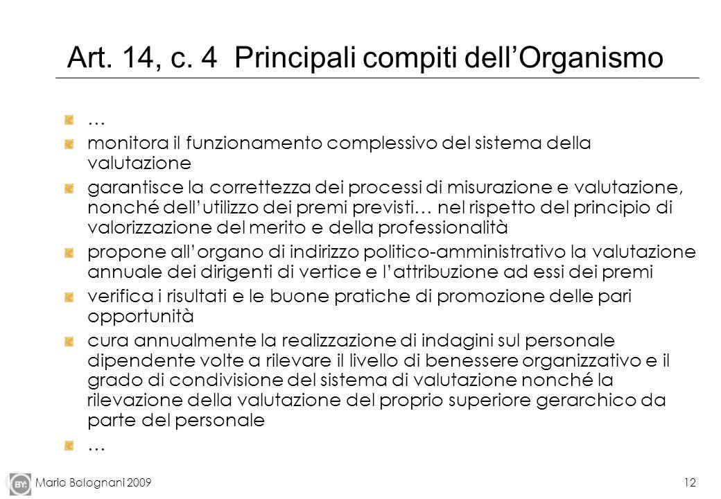 Art. 14, c. 4 Principali compiti dell'Organismo