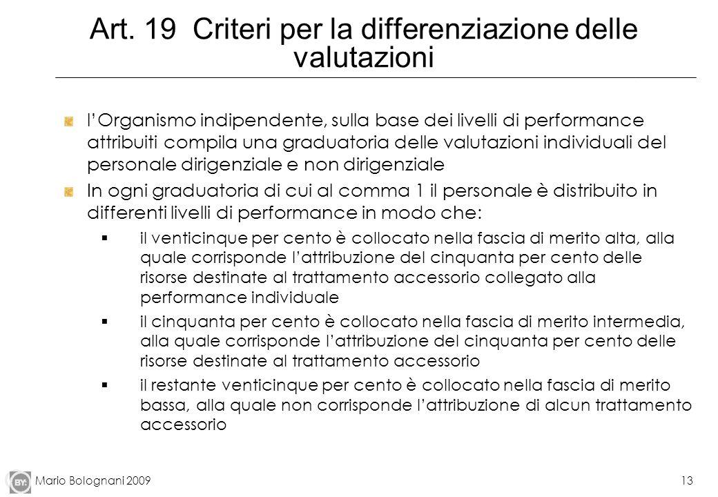 Art. 19 Criteri per la differenziazione delle valutazioni