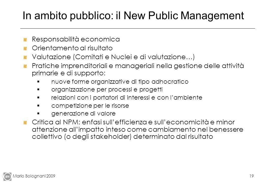 In ambito pubblico: il New Public Management