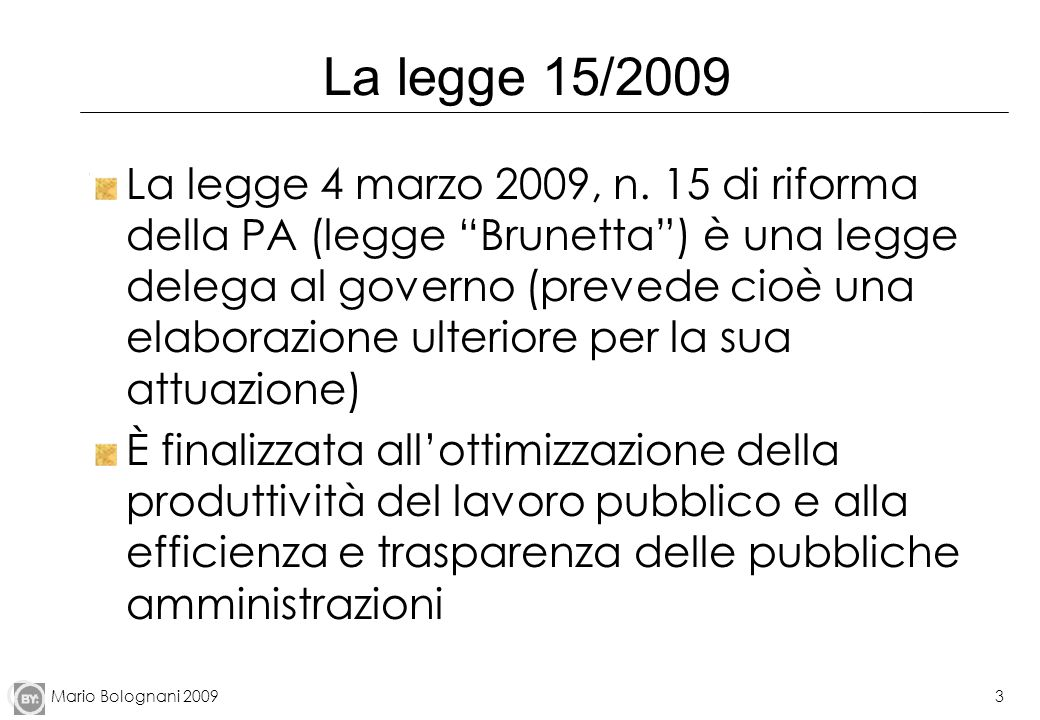 La legge 15/2009