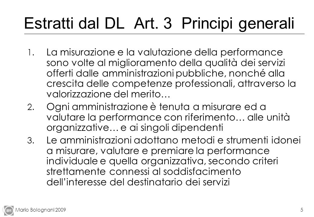Estratti dal DL Art. 3 Principi generali