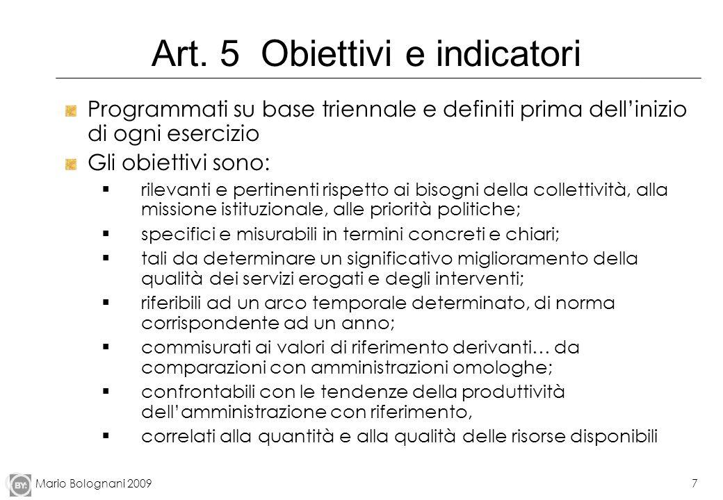 Art. 5 Obiettivi e indicatori