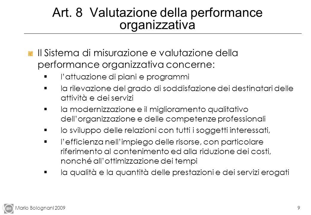 Art. 8 Valutazione della performance organizzativa