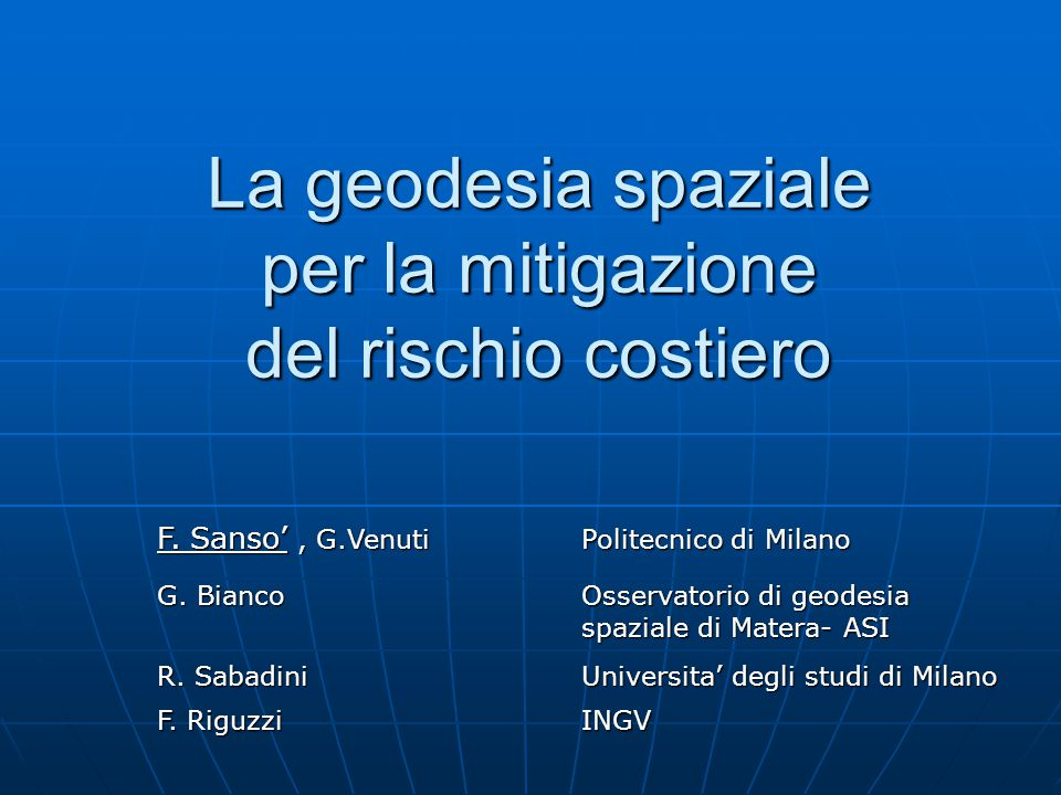 La geodesia spaziale per la mitigazione del rischio costiero