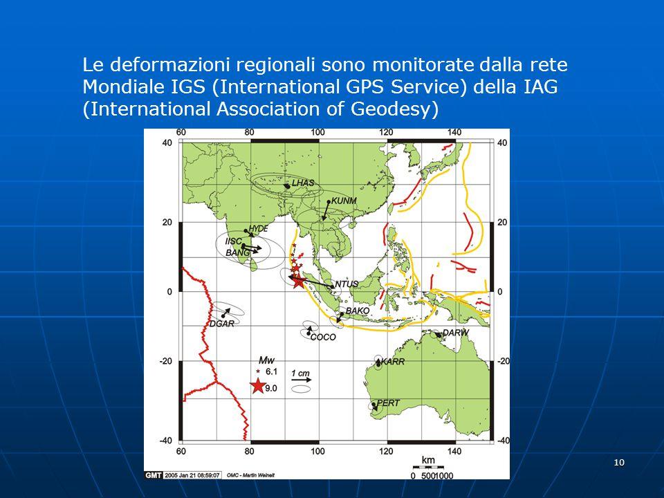 Le deformazioni regionali sono monitorate dalla rete