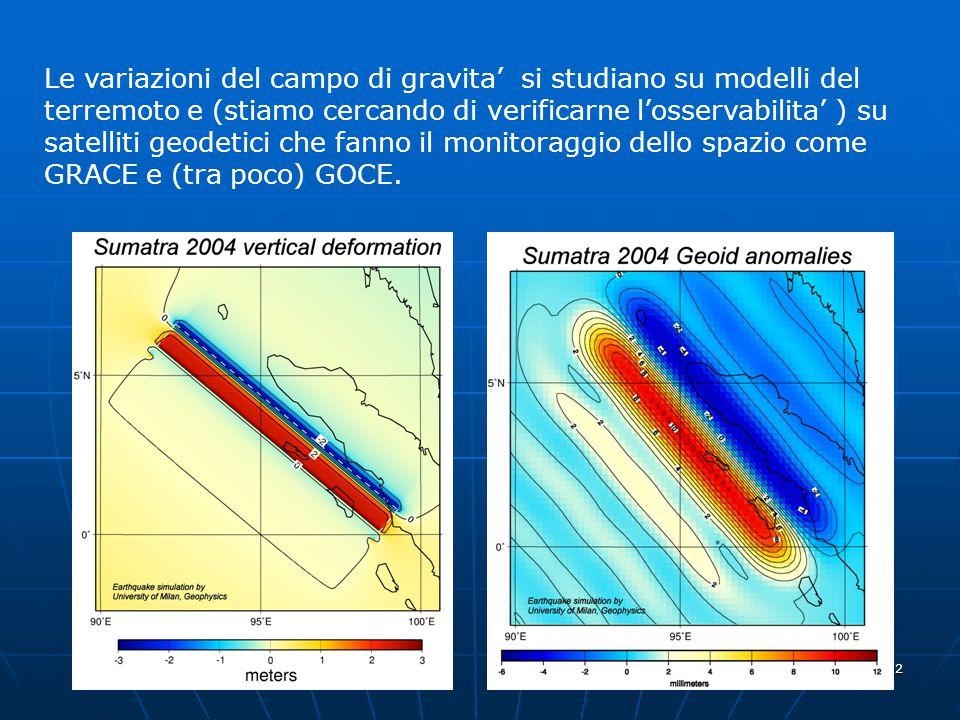 Le variazioni del campo di gravita' si studiano su modelli del terremoto e (stiamo cercando di verificarne l'osservabilita' ) su satelliti geodetici che fanno il monitoraggio dello spazio come GRACE e (tra poco) GOCE.