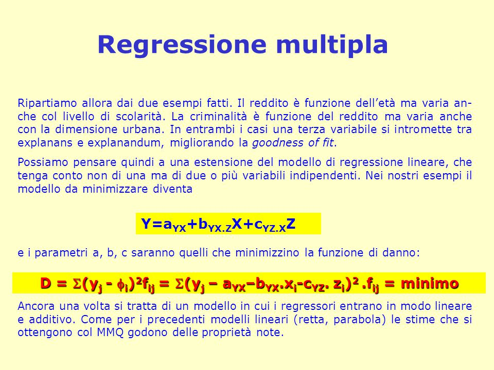 D = (yj - i)2fij = (yj – aYX–bYX.xi-cYZ. zi)2 .fij = minimo