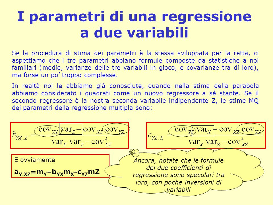 I parametri di una regressione a due variabili