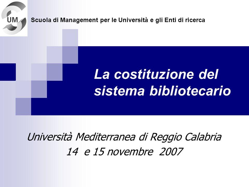 La costituzione del sistema bibliotecario