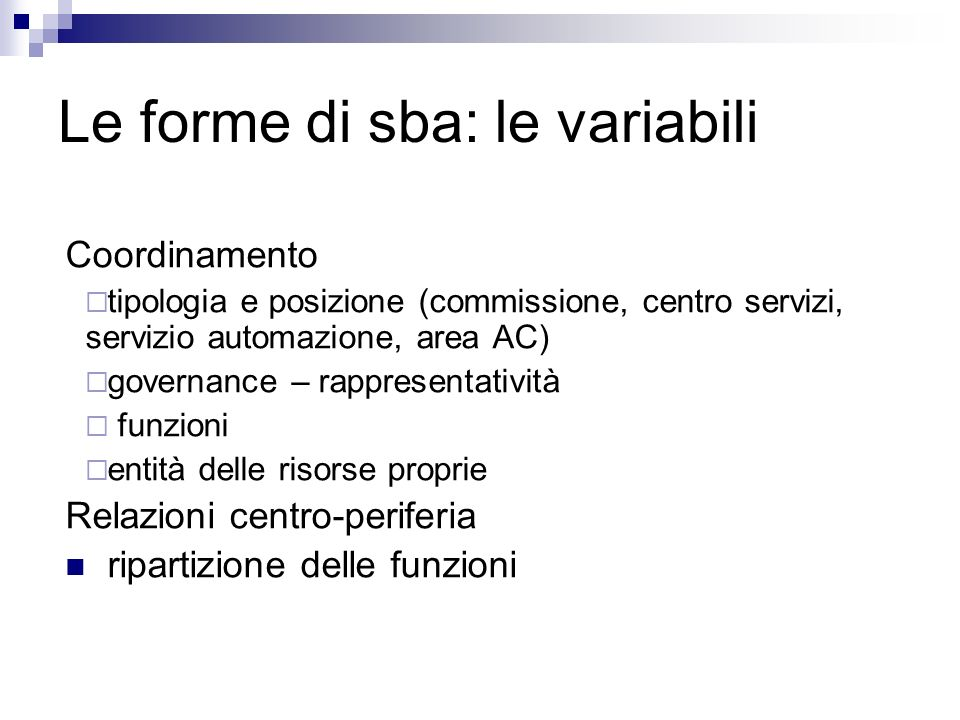 Le forme di sba: le variabili