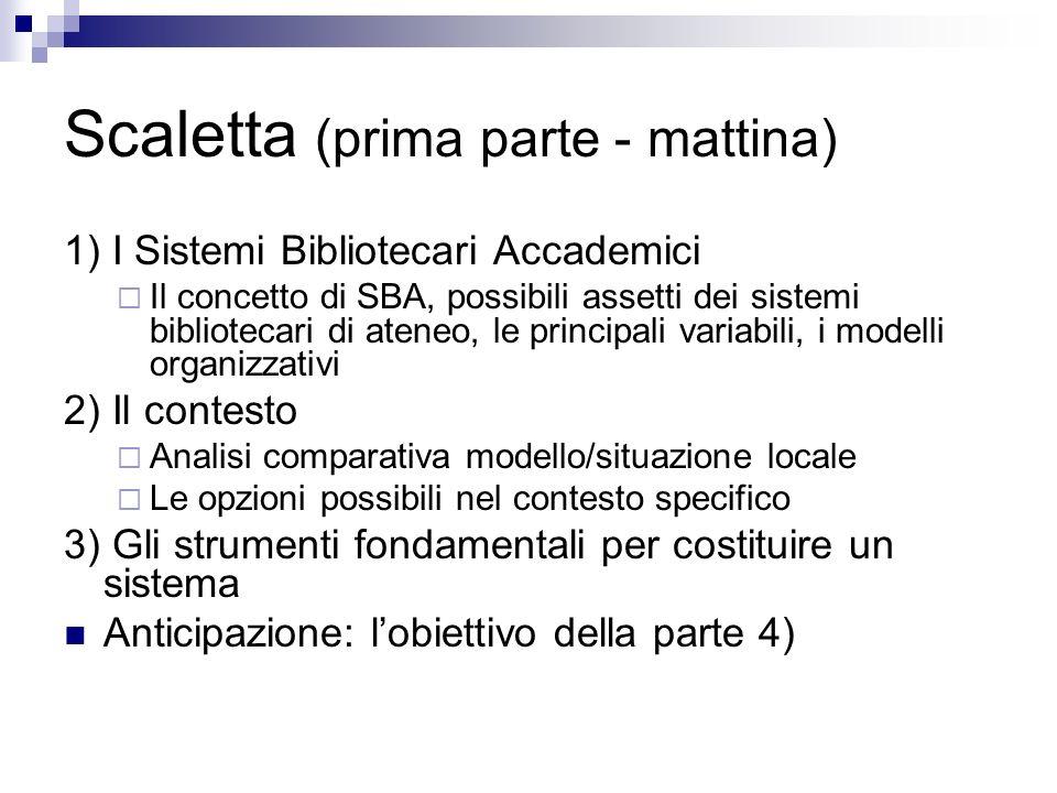 Scaletta (prima parte - mattina)