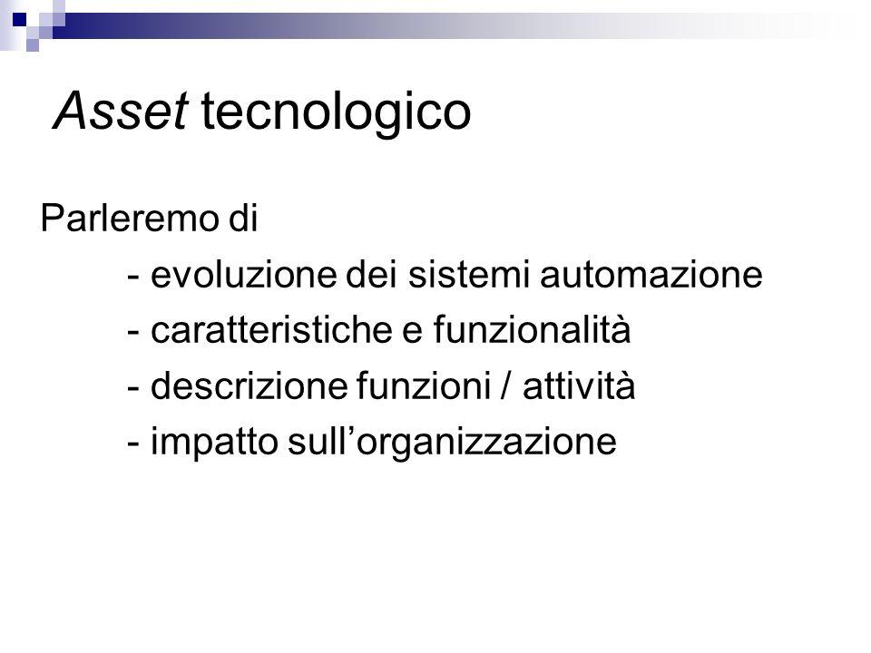 Asset tecnologico Parleremo di - evoluzione dei sistemi automazione