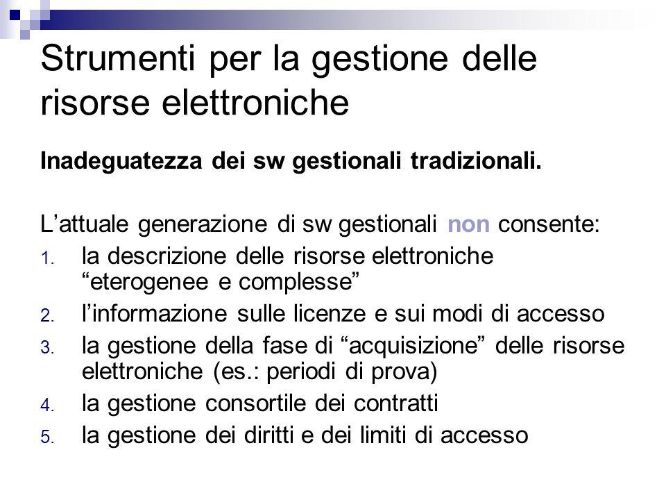 Strumenti per la gestione delle risorse elettroniche