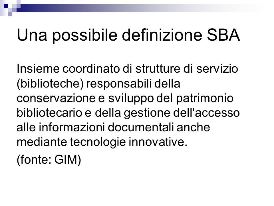 Una possibile definizione SBA