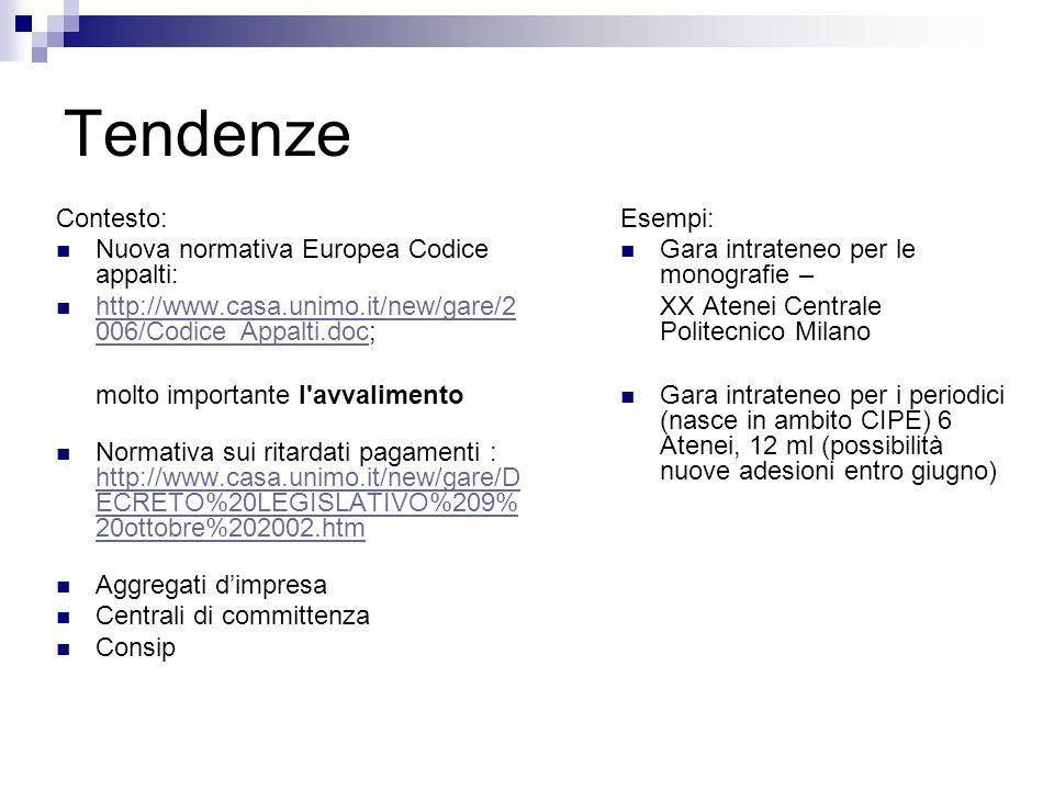 Tendenze Contesto: Nuova normativa Europea Codice appalti: