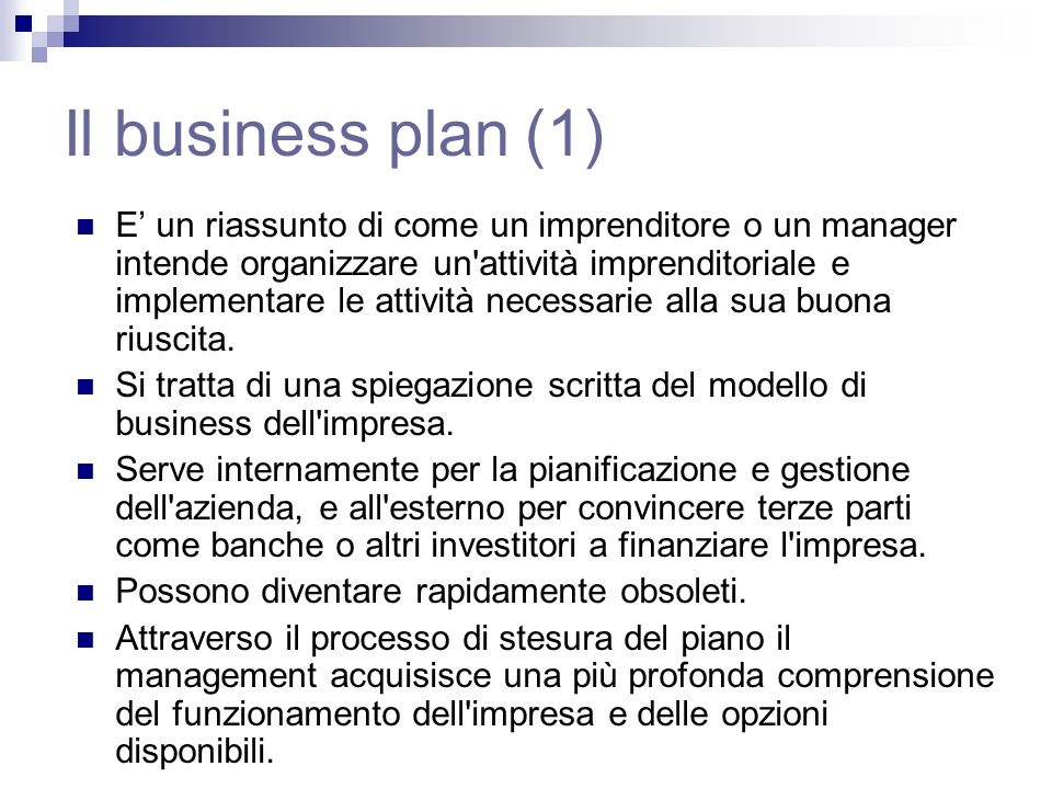 Il business plan (1)