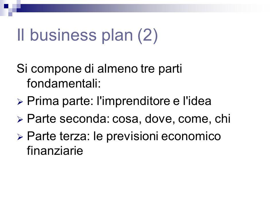 Il business plan (2) Si compone di almeno tre parti fondamentali: